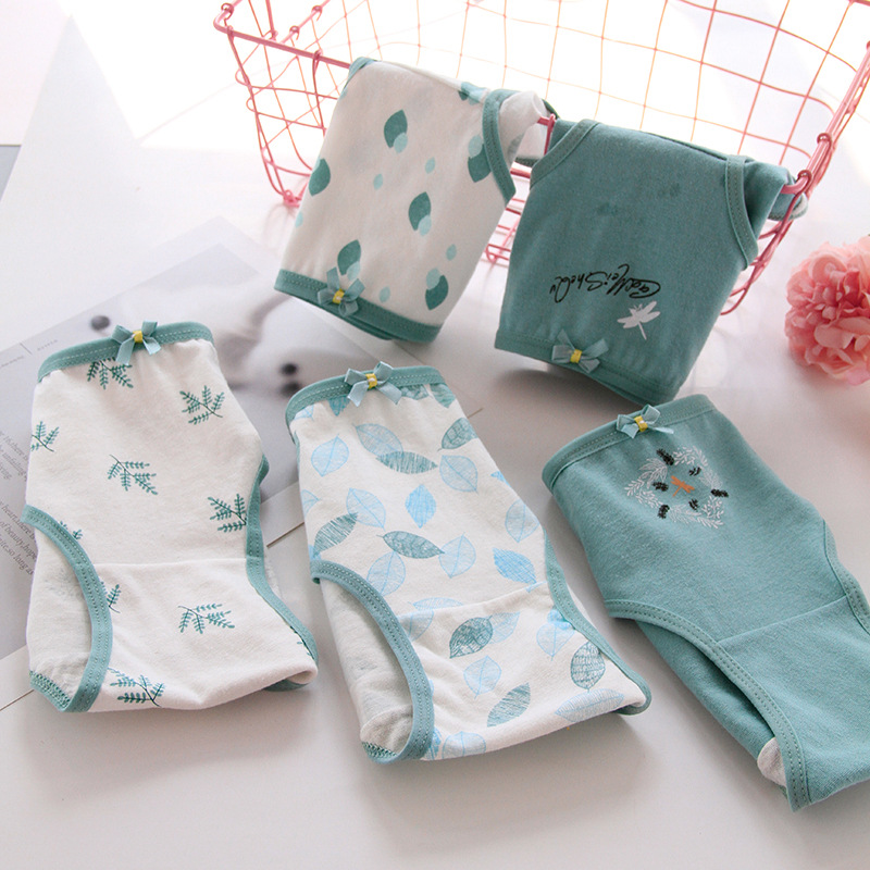 New 4pcs Teenage Forest Underpants Young Girl Briefs Green Comfortable Cotton Panties Kids Underwear 1311