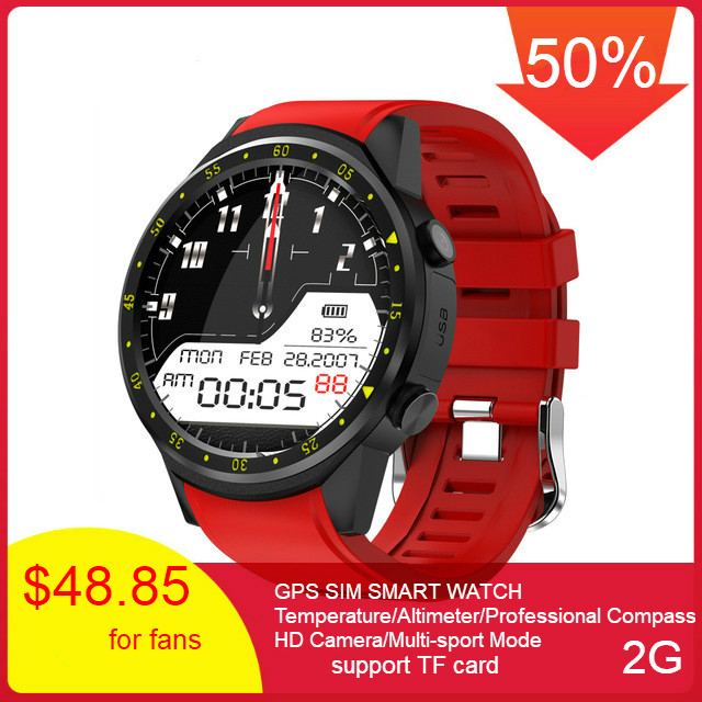F1 Smart Watch Men SIM Card Sports SmartWatch GPS Support Pedometer Bluetooth 4.0 Camera Wristwatch Women For IOS Android Phone