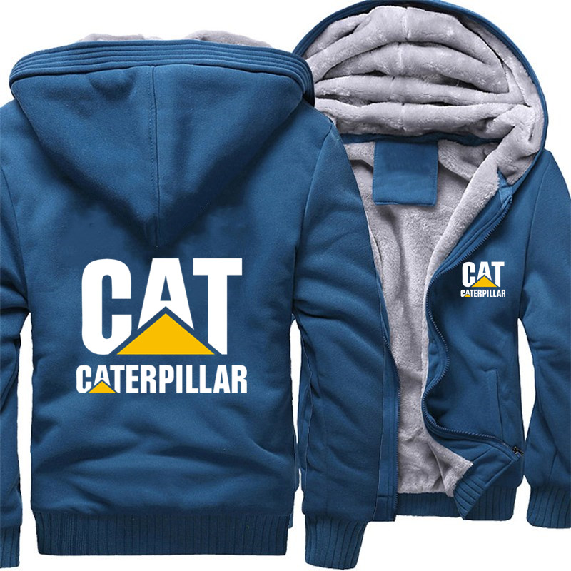 thick fleece Cat Caterpillar zipper hoodies