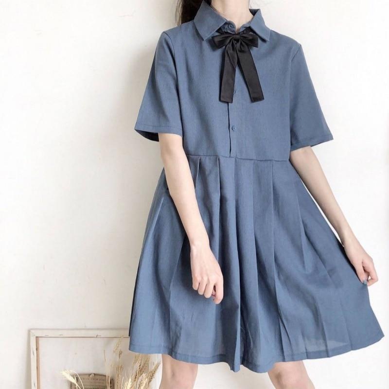 Japanese Sweet Lolita Dress Women Summer Harajuku Soft Sister Loose Shirt Dress Girls Kawaii Student Bow Tie Jsk Lolita Dresses
