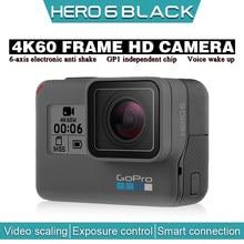 Gopro hero 6 preto 4k 60fps ultra hd câmera de vídeo da motocicleta blog capacete profissional anti shake pequena câmera ação subaquática