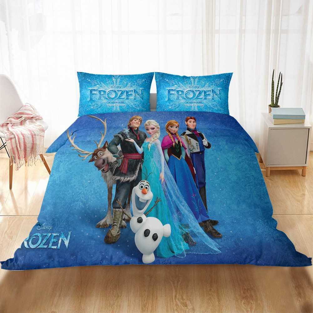 Frozen Anna Elsa Friends Bedding Set Twin Queen King Size Bedline Baby Children Girls Gift Duvet Cover Home Textiles Comforter