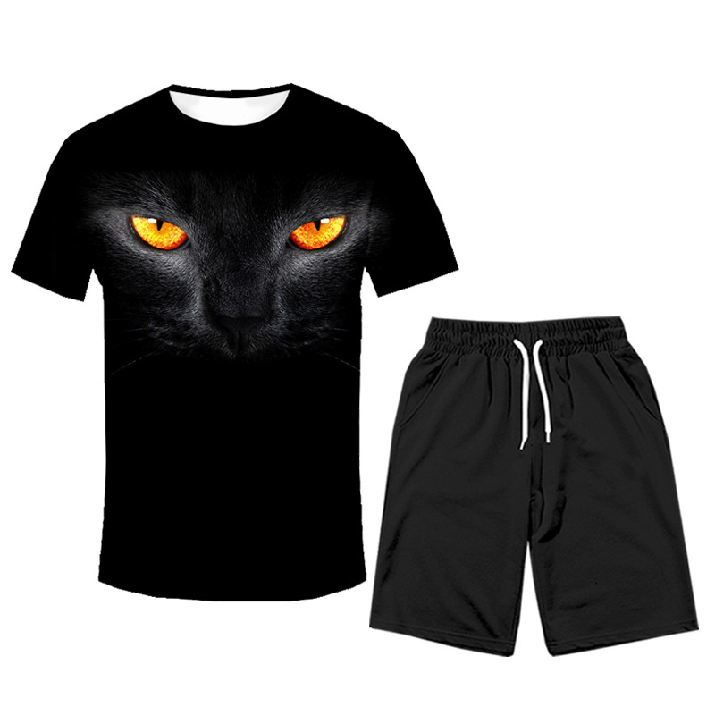 Western Style Summer Sports T-shirt Suit Black Cat 3D Printed Short Sleeve Shorts Two-Piece Set Trend Men'S Wear