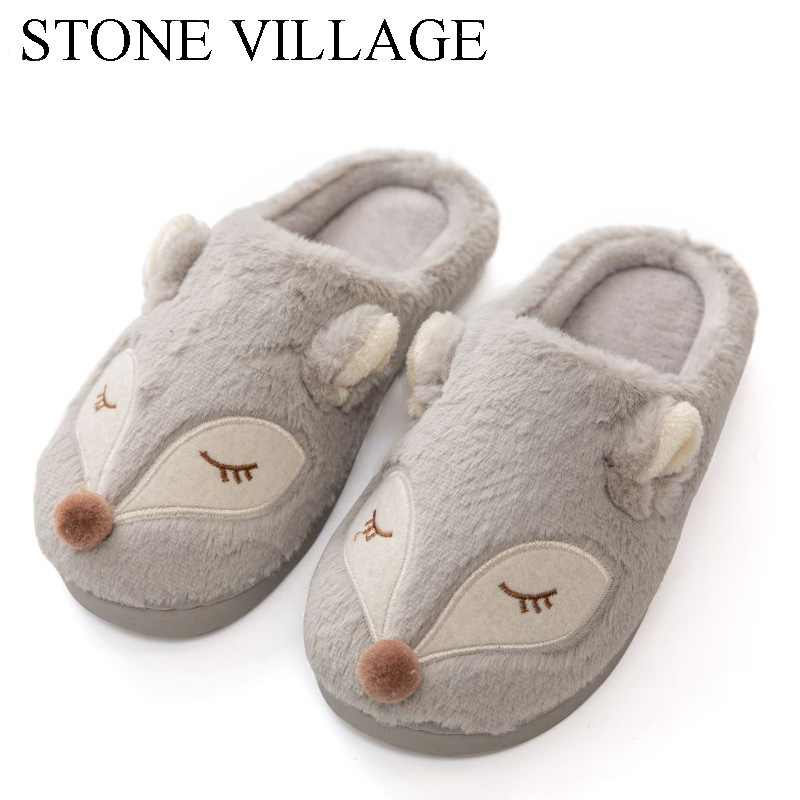 STONE VILLAGE High Quality Cute Cartoon Animal Fox Women Slippers Shoes Winter Warm Plush Home Slippers Cotton Slippers 3 Colors