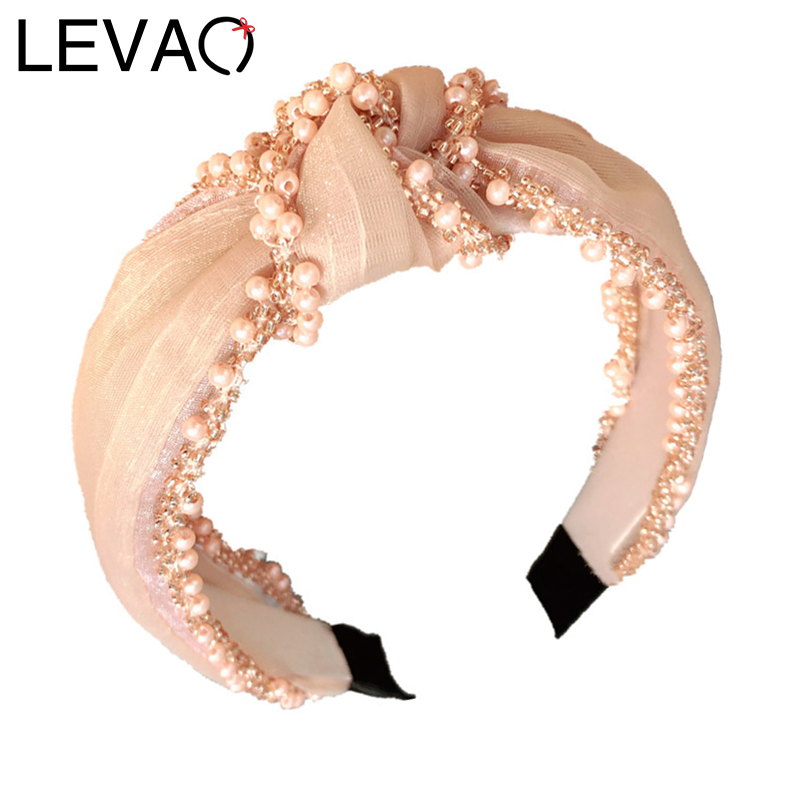 LEVAO Solid Color Lace Korean Headband Knotted Hairbands Pearl Cain Bezel Turban Women Girls Hair Accessories Hair Hoop Fashion