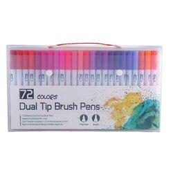 72 kolory Marker liniowy rysunek Marker wodny długopisy podwójny pędzelek do zdobień akcesoria do malowania