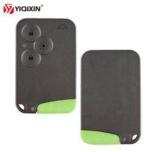 Yiqixin 3 botão de cartão chave remota caso escudo fob capa inserção pequena lâmina chave cartão inteligente para renault laguna espace substituição