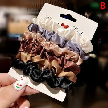6pc/set Women Tie Hair Ring Rope Ponytail Holder Headdress Crunchie Girls Elastic Rubber Bands Accessories Gum - discount item  30% OFF Headwear