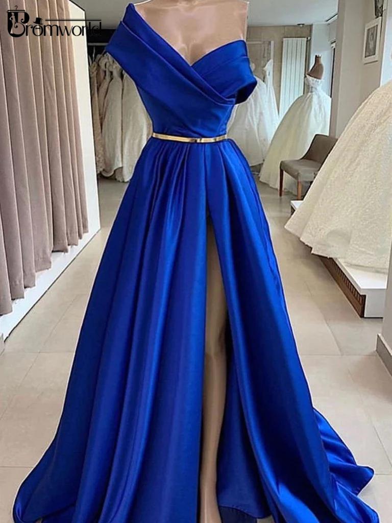 Elegant One Shoulder Royal Blue Prom Dresses Long Robe De Soiree A Line Satin Dubai Sexy High Slit Formal Evening Dress Party