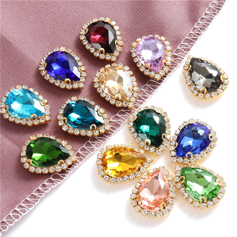 Colorful 4 Sizes Teardrop Glass Sew On Rhinestones With Golden Bottom Flatback Crystals Stones For Diy Clothing Accessories