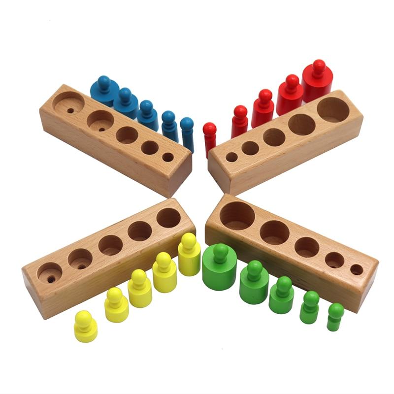 Головоломка Монтессори с цилиндрической розеткой, игрушка для обучения развитию ребенка, дошкольные Развивающие деревянные игрушки для детей 5