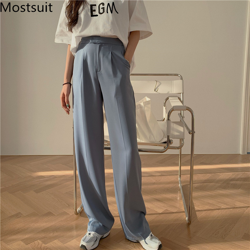 Korean High Waist Wide Leg Suit Pants Trousers Women Zipper Fly Solid Loose Fashion Casual Straight Pants Capris 2020