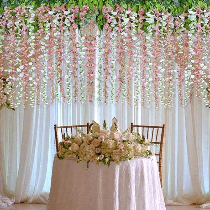 30CM Artificial Flower Vine Orchids Flower String Handmade Hanging Garland Wedding Party Home Wall DIY Decoration Crafts Supply