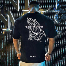 New Men Loose T-shirt Cotton Short Sleeves Black Undershirt Male Solid Stripe Mens Tee Summer Brand Clothing Homme Tshirt 2021
