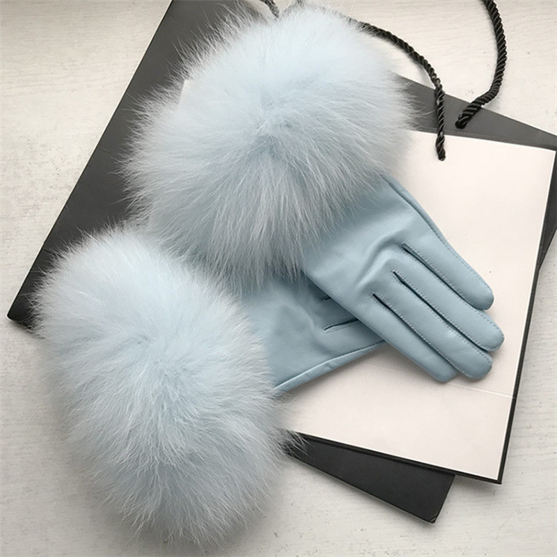 2019 New Arrival Genuine Leather Glove Real Sheepskin & Fox Fur Gloves Women's Fashion Style High Quality