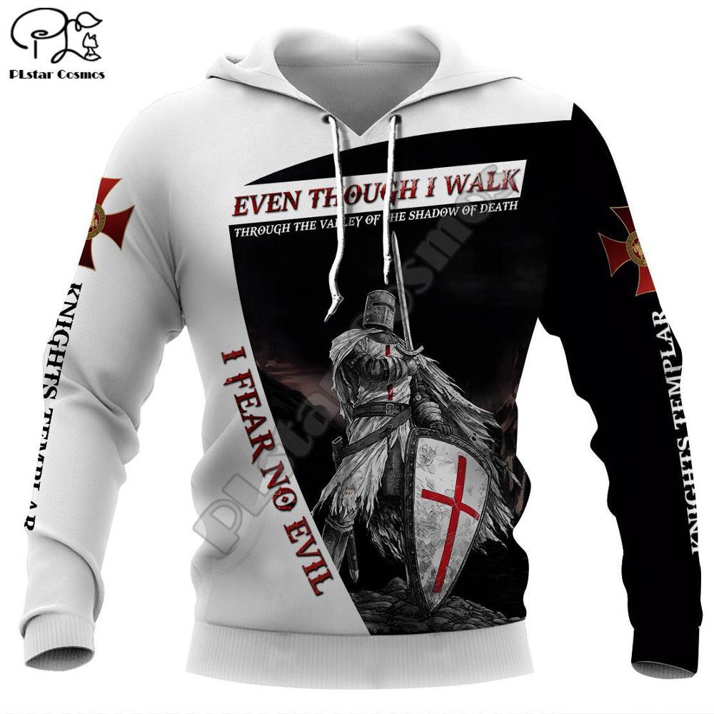 New Men Knights Templar Print 3d Hoodies Funny Soldier Sweatshirt Zipper Jacket Unisex Streetwear Casual Tracksuit Pullover Hood
