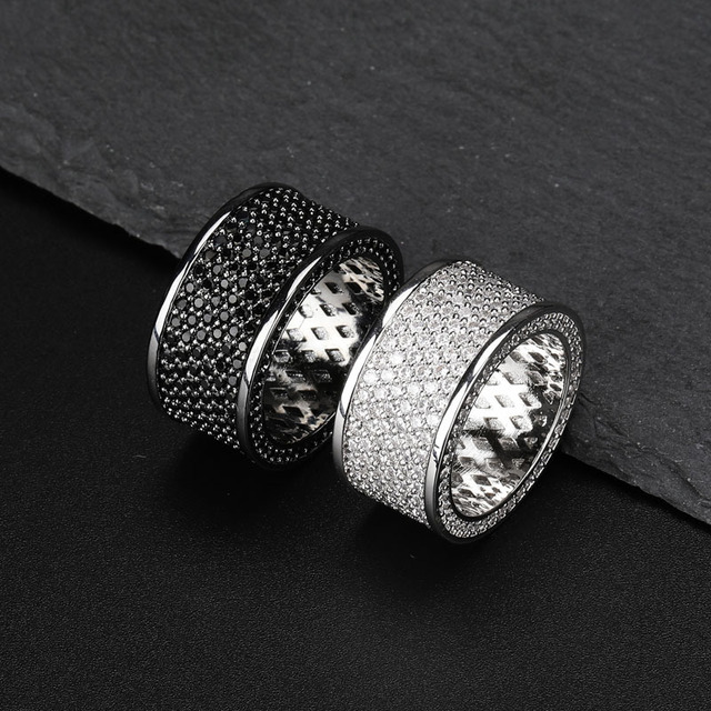 INS Popular AAA Cubic Zirconia Bling Iced Out Round Finger Ring Hip Hop Rings Men Rock Jewelry Black Silver