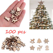 100pcs Christmas Decoration Wooden Snowflake Tree Deer Natural DIY Hanging Ornaments H