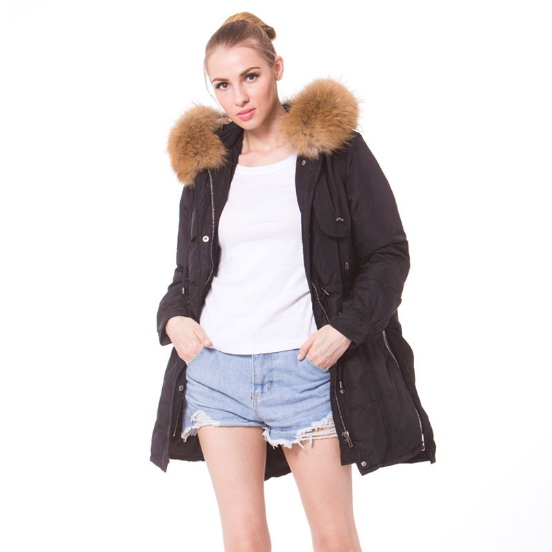 Korean White Duck Down Jacket Woman Hooded Long Winter Coat Women Racoon Fur Collar Long Parka Chamarras De Mujer KJ734
