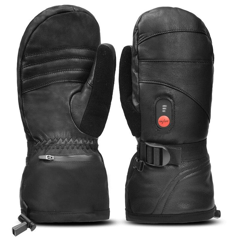 Перчатки на весь палец с подогревом перчатки для сенсорного экрана водонепроницаемые ветрозащитные перчатки с электрическим подогревом л...
