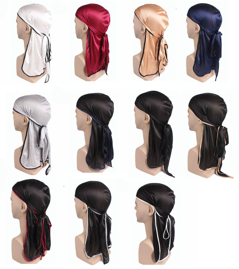 New Autumn Elastic Long Tail Hat <font><b>Men</b></font> Solid Silky <font><b>Durags</b></font> Bandanas do doo du rag Headband Hair Accessories Turban Solid chemo cap image