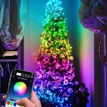 Светодиодная USB-гирлянда с управлением через приложение, водонепроницаемая лампа с медным проводом для украшения новогодней елки в помещен...