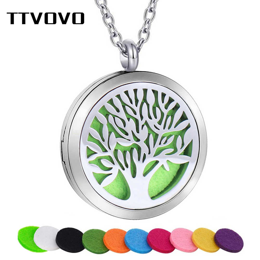TTVOVO Tree of Life น้ำมันหอมระเหยสร้อยคอ Diffuser น้ำมันหอมระเหยจี้สำหรับผู้หญิงผู้ชายสแตนเลสสตีล Locket เครื่องประดับ