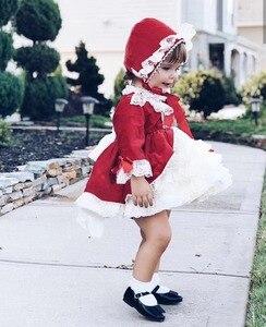 Image 4 - 4PCS Mädchen Herbst Winter Frühling Rot Samt Vintage Spanisch Prinzessin Lolita Bommel Ball Weihnachten Geburtstag Hochzeit Party Kleid
