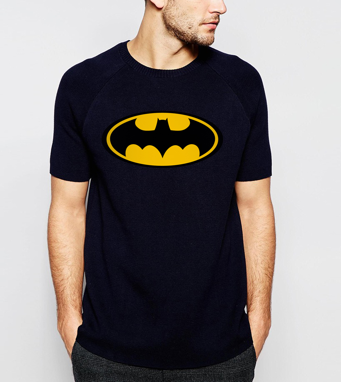 Batman T Shirt Cartoon Superhero Tshirt Men T Shirts Summer Short Sleeve T-Shirt Super Hero Cotton Black White Print Tops Tee
