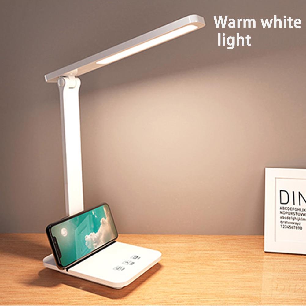 Lámpara LED regulable para escritorio continua para lectura de estudiante, iluminación de 3 colores, lámpara LED recargable por USB para dormitorio, mesita de noche