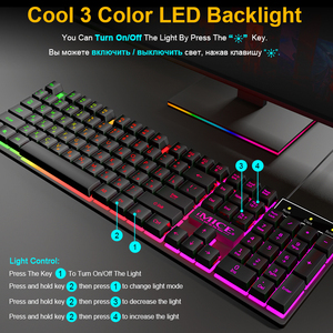 Image 3 - Gaming keyboard and Mouse Wired keyboard backlight keyboard Russian Spanish Gamer kit Silent Gaming Mouse Set forPC Laptop