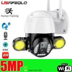 ICSEE 3MP/5MP Wi-Fi IP Камера на открытом воздухе двойной светодиодный человека отслеживания PTZ домашней безопасности Камера Видео видеонаблюдения ...