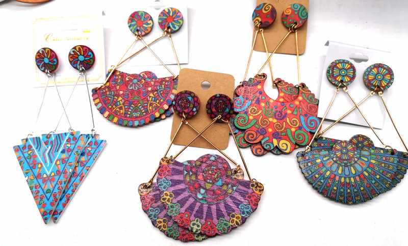 few Stock!! Printing African Drop Earrings wooden