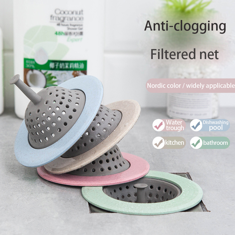 Kitchen Sink Filter Silicone Floor Drain Cover Bathroom Sink Drain Cover Sewer Debris Filter 4 Color Optional Kitchen Accessorie