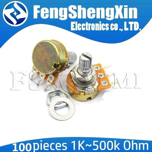 100 ชิ้น/ล็อตใหม่ WH148 B1K B2K B5K B10K B20K B50K B100K B250K B500K B1M 3pin 15 มม.1K 2K 5K 10K 20K 50K 100K 250K 500K 1M