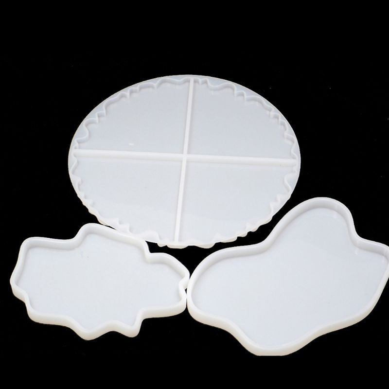 3Pcs DIY Irregular Wave Round Coaster Silicone Resin Mold Epoxy Resin Jewelry Making