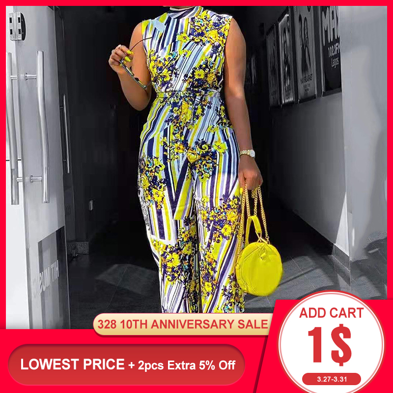 Summer Sleeveless Women Long Jumpsuits African Chic 2020 High Waist Floral Printed Female Casual Jumpsuits Rompers Elegant Lady