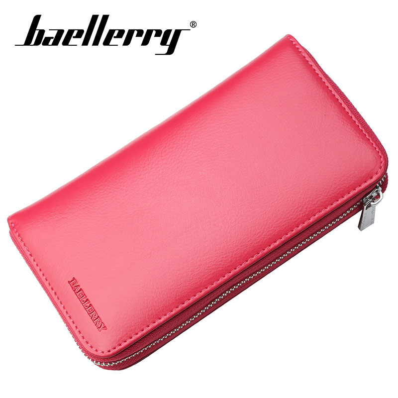 Baellerry Wallet Genuine Leather Solid Women Business Long Zipper Porta Clutch Bag Card Holder Note Compartment