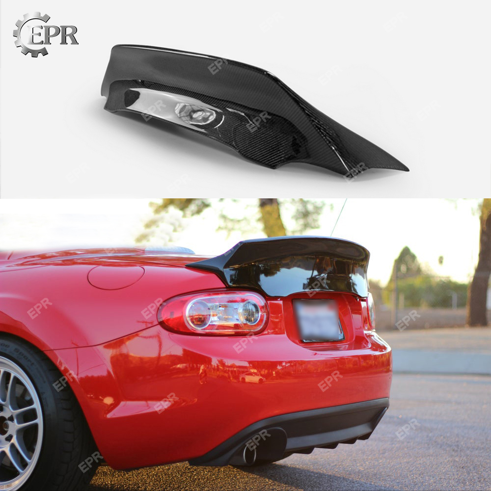 Carbon Wing Lip Trim For <font><b>Mazda</b></font> <font><b>MX5</b></font> NC NCEC Roadster Miata EPA Carbon Fiber <font><b>Rear</b></font> Duckbill <font><b>Spoiler</b></font> (Soft Top Only) image