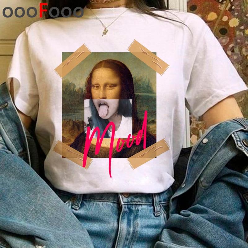Mona Lisa Aesthetic Harajuku T Shirt Women Grunge Funny Cartoon T-shirt Ullzang Vintage 90s Tshirt New Fashion Top Tees Female