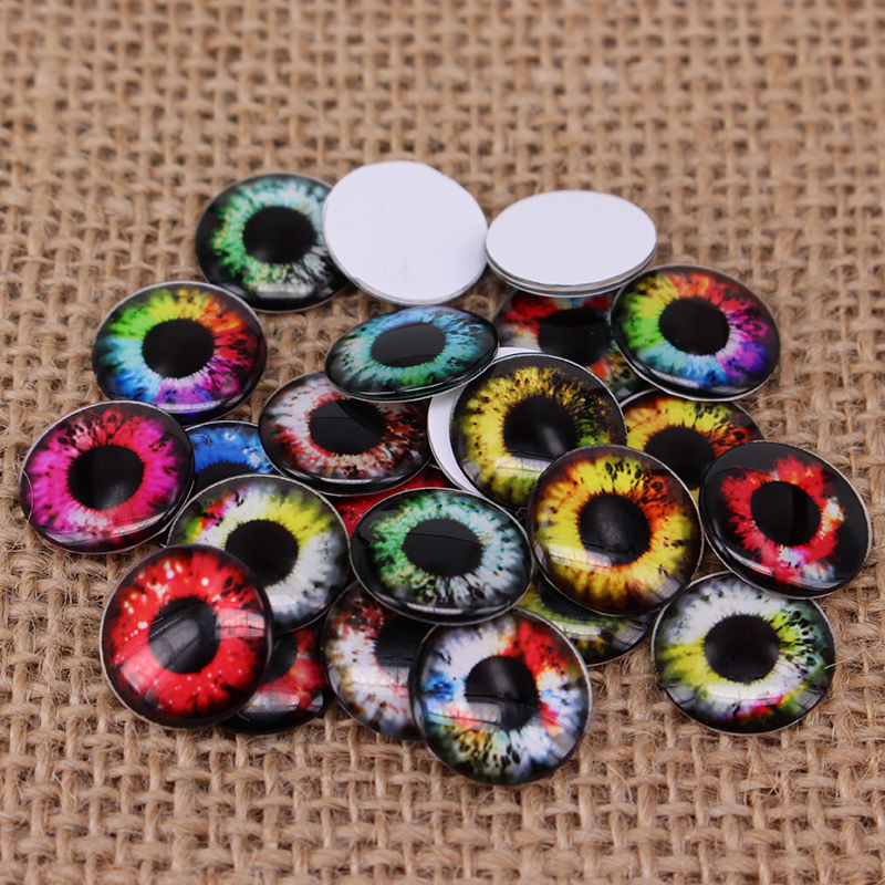 24pcs/lot Colorful Pupil Round Glass Blyth Doll Eyes Chips Pattern DIY Accessories BT101