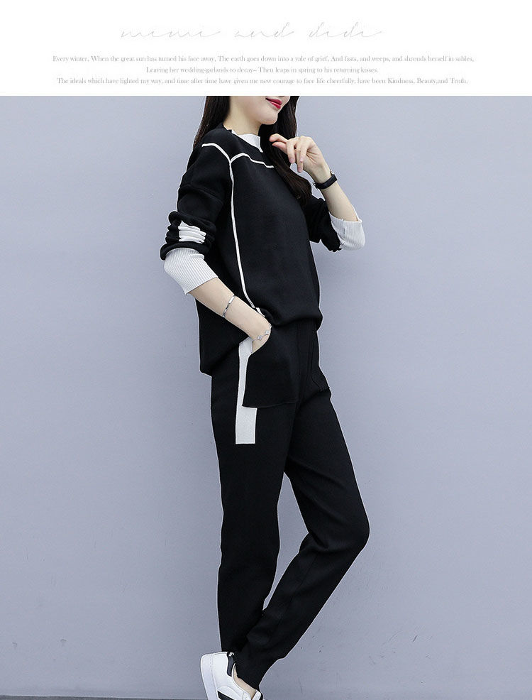 2019 Autumn Black Knitted Two Piece Sets Outfits Women Plus Size Long Sleeve Tops And Pants Suits Casual Fashion Korean Sets 31