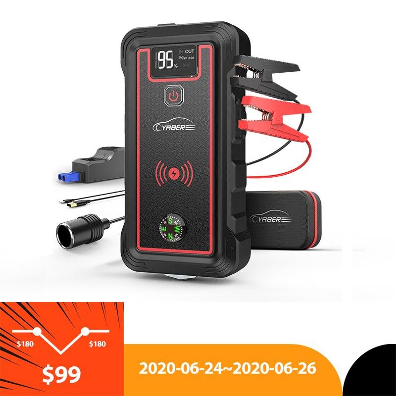 Yaber 23800mAh urządzenie do uruchamiania awaryjnego samochodu szczyt 2500A Power Bank akumulator samochodowy Jumpstarter z 10W bezprzewodowa ładowarka ekran LCD młotek bezpieczeństwa