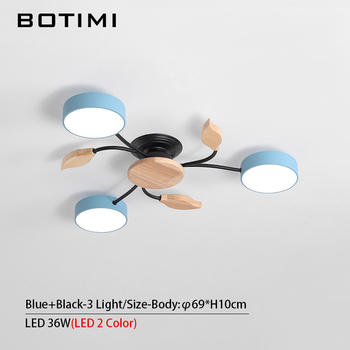 BOTIMI New Arrival Art DECO LED Ceiling Lights For Foyer Modern Gray Metal With Wood Bedroom Lamp Blue Black Rooms Light Fixture 11