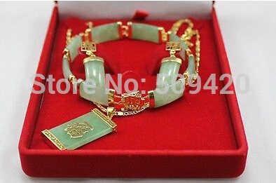 Freies verschiffen >>>>> AAA 18k Gelb Gold GP Grün Smaragd Halskette Armband Ohrring