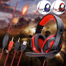 PC Gaming Headset Foldable 3 5mm Stereo USB LED Headphones Microphone Wired Gamer Headset For Computer Laptop Mac PlayStation 4 cheap CARPRIE Dynamic CN(Origin) 116dB None For Internet Bar for Video Game Common Headphone For Mobile Phone HiFi Headphone Sport