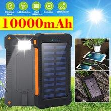 Portátil 10000 mah banco de energia solar acampamento ao ar livre carregador de bateria externa para iphone samsung huawei smartphone