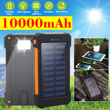 Portable 10000mAh Solar Power Bank Outdoor Camping External Battery Charger for iPhone Samsung Huawei Smartphone
