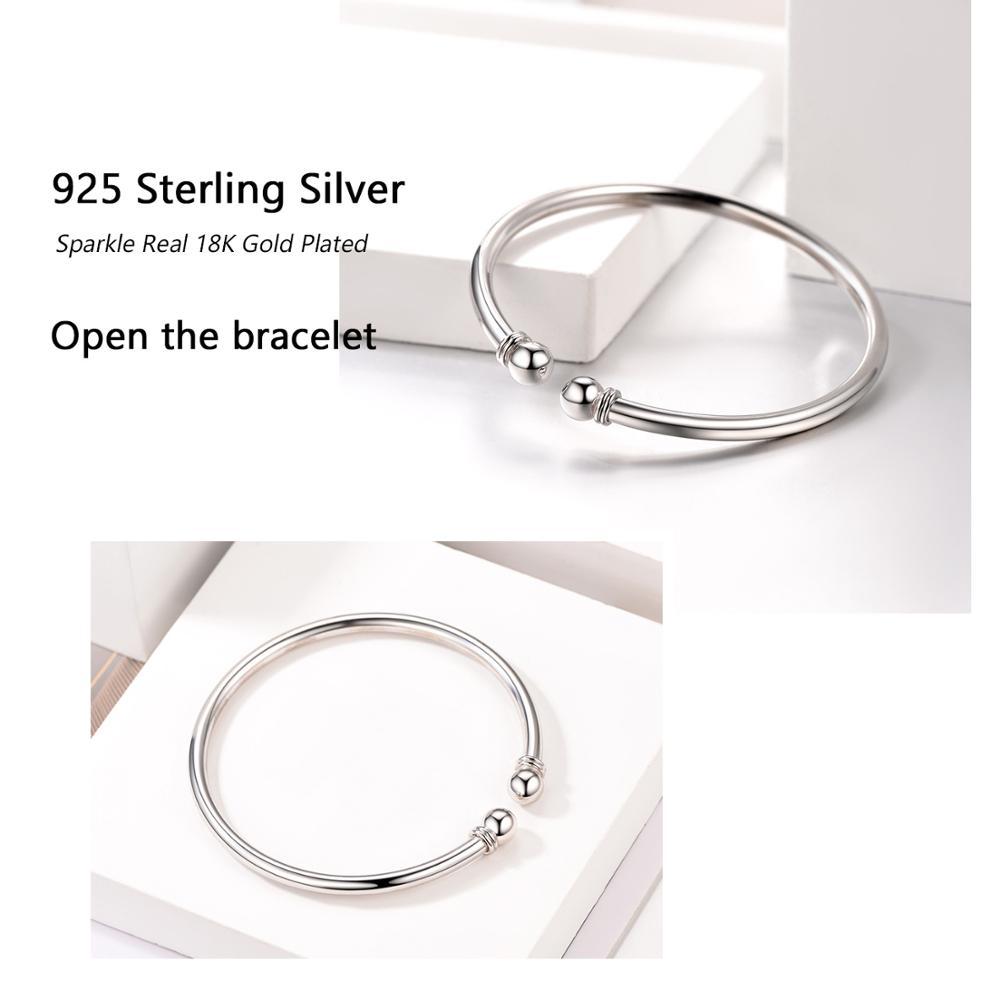 Fashion Simple Open Bangles 925 Sterling Silver Bangle Bracelet