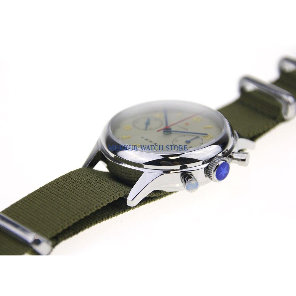 Saphir rouge étoile mécanique chronographe pour mouette 1963 ST1901 mouvement hommes pilote montre Flieger B UHR remontage à la main militaire - 4